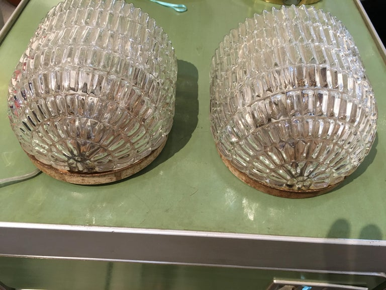 Pair of Textured Glass Nautical Sconces, Midcentury from a Ship's Stateroom In Good Condition For Sale In Nantucket, MA
