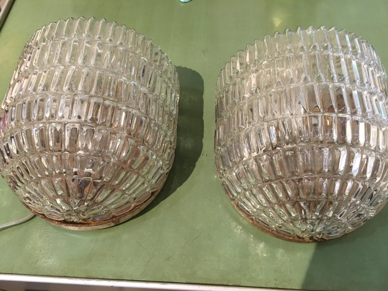 20th Century Pair of Textured Glass Nautical Sconces, Midcentury from a Ship's Stateroom For Sale