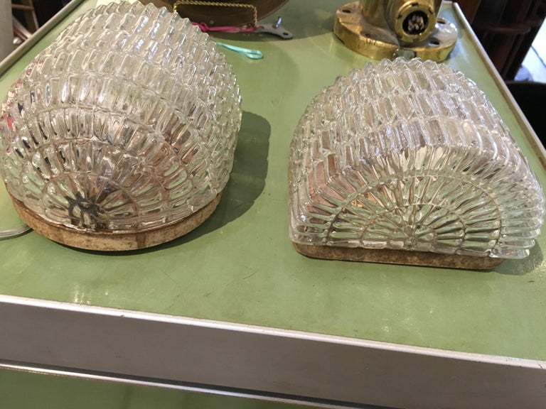 Pair of Textured Glass Nautical Sconces, Midcentury from a Ship's Stateroom For Sale 1