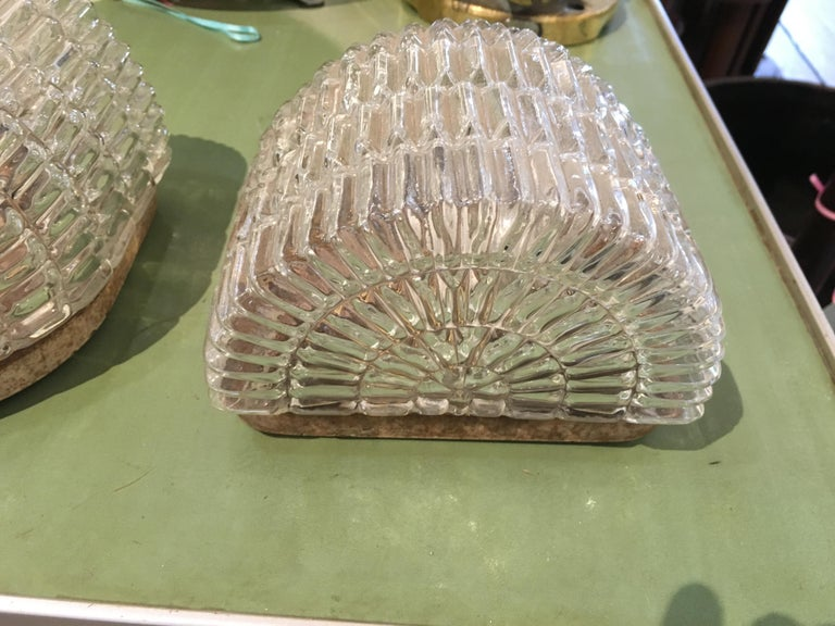 Pair of Textured Glass Nautical Sconces, Midcentury from a Ship's Stateroom For Sale 2