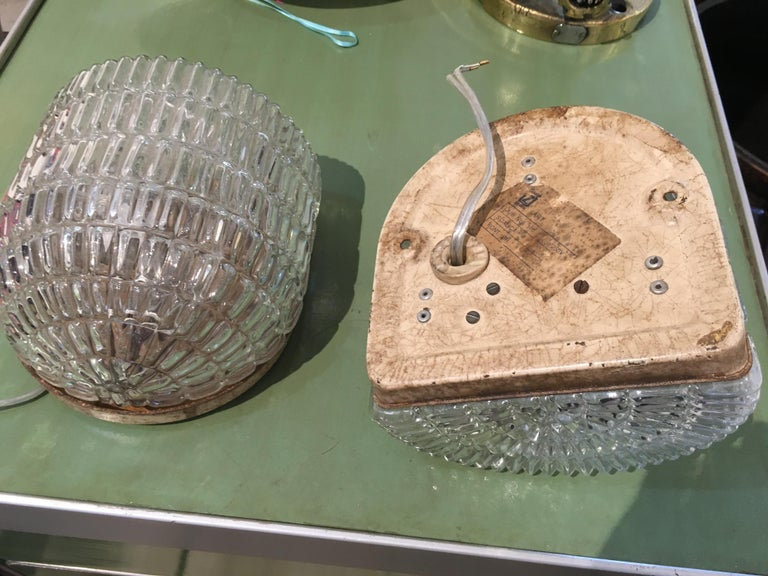 Pair of Textured Glass Nautical Sconces, Midcentury from a Ship's Stateroom For Sale 3