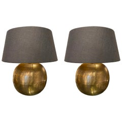 Textured Gold Color Metal Pair Lamps, China, Contemporary
