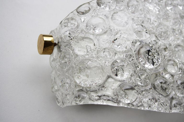 Pair of Textured Ice Glass Bubble Wall Lights Sconces, 1960s 4