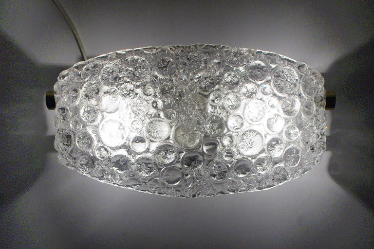 Pair of Textured Ice Glass Bubble Wall Lights Sconces, 1960s 6
