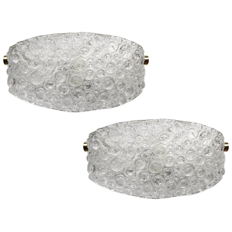 Pair of Textured Ice Glass Bubble Wall Lights Sconces, 1960s