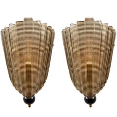 Pair of Textured Murano Glass Wall Sconces