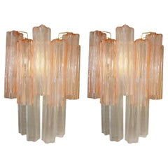 Pair of Textured Pink Tube Sconces