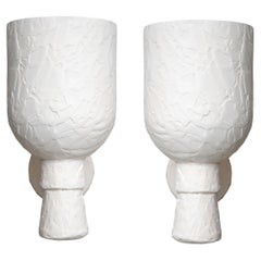 Pair of Textured Plaster Wall Lights, in Stock
