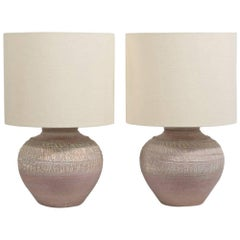 Pair of Textured Pottery Table Lamps, 1970s