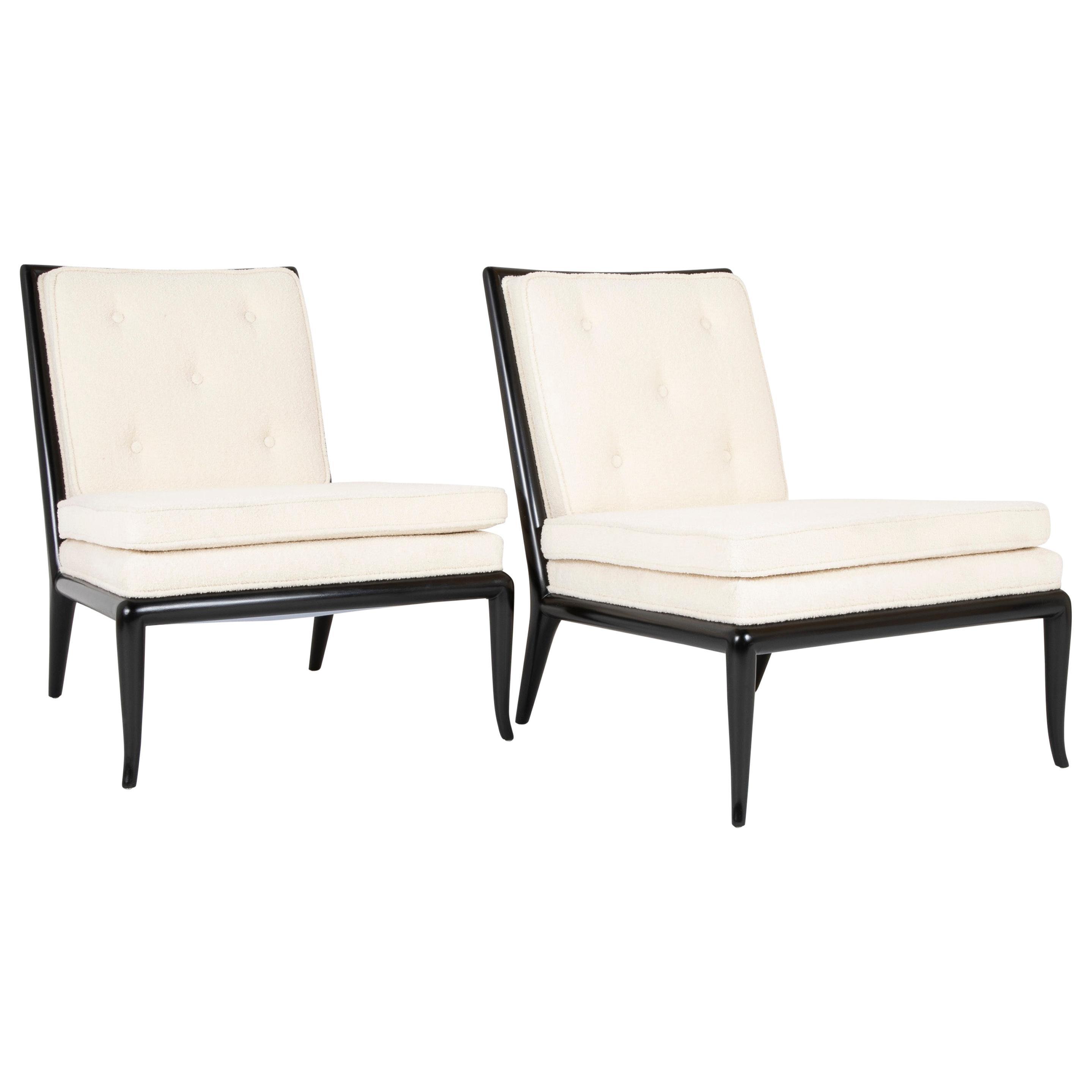 Pair of T.H. Robsjohn-Gibbings Ebonized Slipper Chairs for Widdicomb