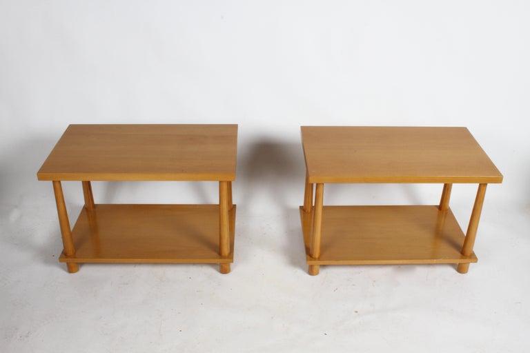 Walnut Pair of T.H. Robsjohn-Gibbings for Widdicomb Reverse Tapered Legs End Tables