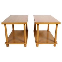 Pair of T.H. Robsjohn-Gibbings for Widdicomb Reverse Tapered Legs End Tables
