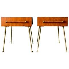 Pair of T.H. Robsjohn-Gibbings 'Glove Box' Bedside Tables, circa 1955