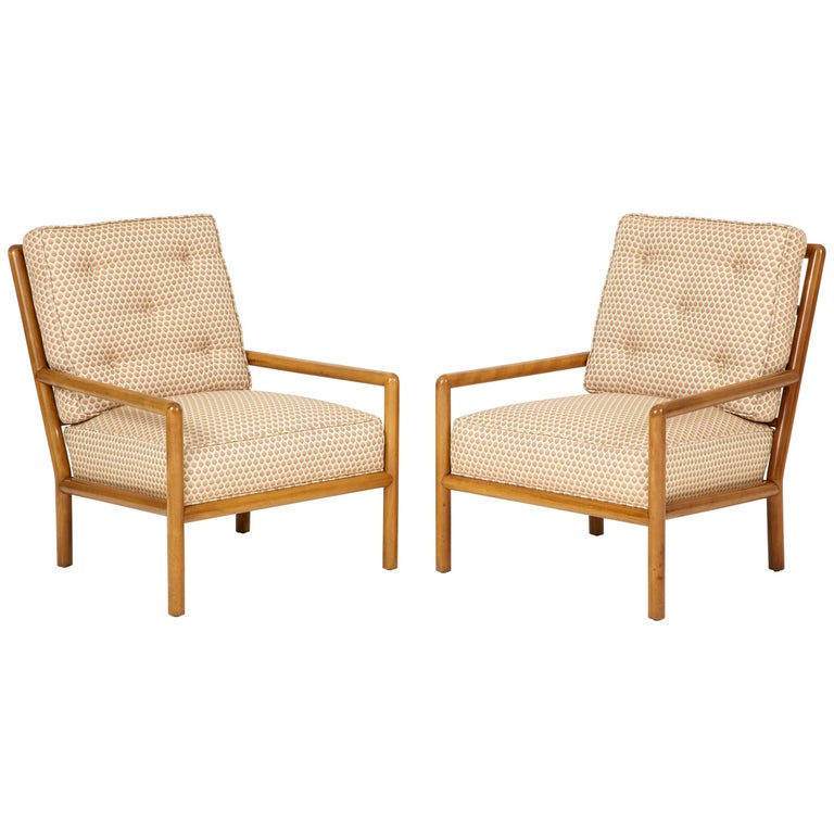 Pair of T.H. Robsjohn-Gibbings Lounge Chairs, circa 1950s For Sale