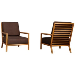 Pair of T.H. Robsjohn-Gibbings Midcentury Armchairs Restored, 1950s