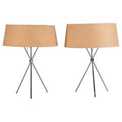 Pair of T.H. Robsjohn-Gibbings Nickel Table Lamps for Hansen