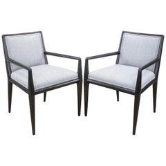 Pair of T.H. Robsjohn-Gibbings Sleek Lined Armchairs for Widdicomb