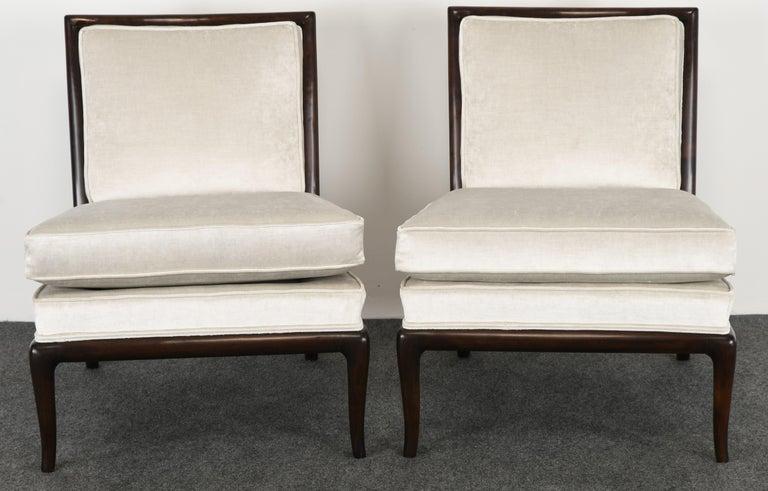Mid-Century Modern Pair of T.H. Robsjohn Gibbings Slipper Chairs, 1950s For Sale