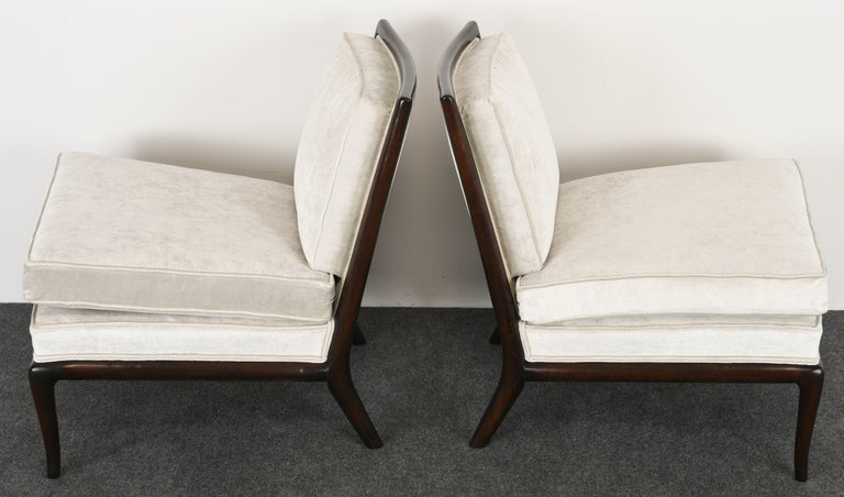 American Pair of T.H. Robsjohn Gibbings Slipper Chairs, 1950s For Sale