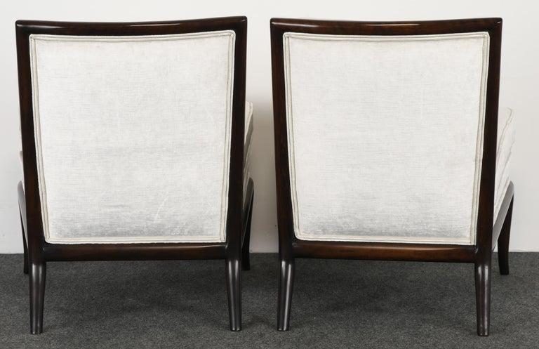 Mid-20th Century Pair of T.H. Robsjohn Gibbings Slipper Chairs, 1950s For Sale