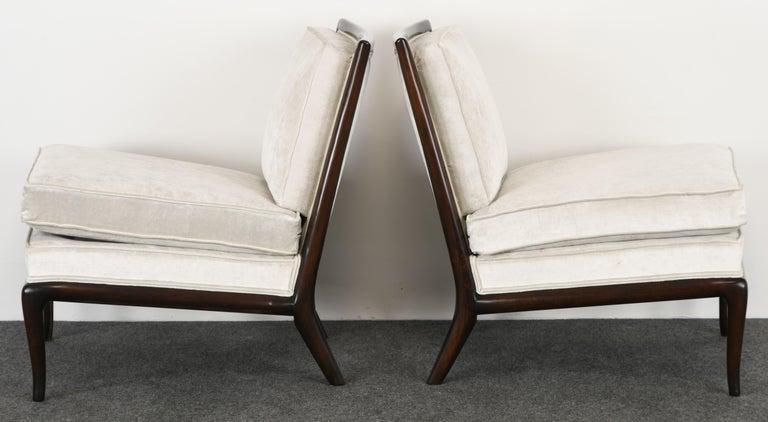 Upholstery Pair of T.H. Robsjohn Gibbings Slipper Chairs, 1950s For Sale