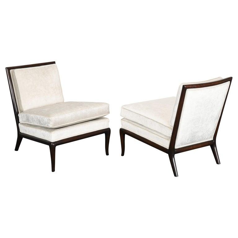 Pair of T.H. Robsjohn Gibbings Slipper Chairs, 1950s For Sale