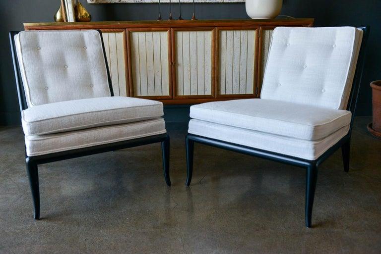 Mid-Century Modern Pair of T.H. Robsjohn-Gibbings Slipper Chairs, Model WMB, 1955 For Sale