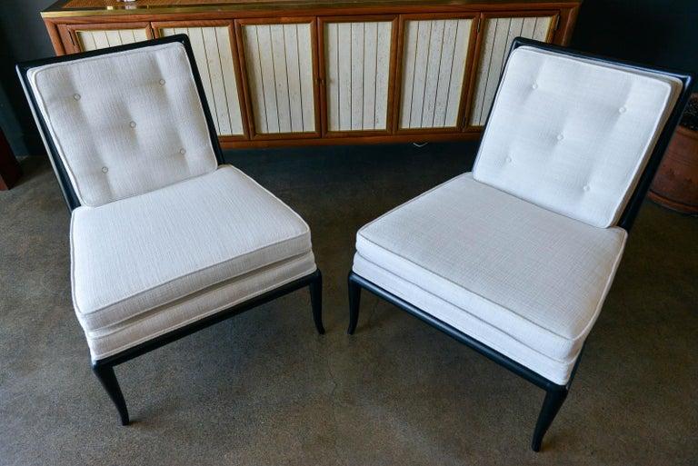 American Pair of T.H. Robsjohn-Gibbings Slipper Chairs, Model WMB, 1955 For Sale