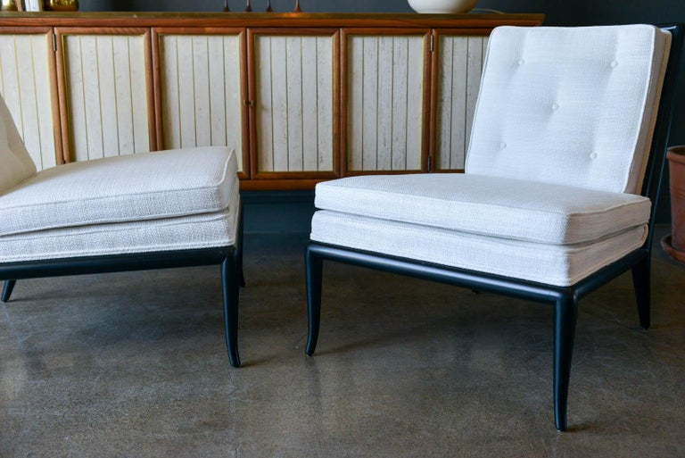 Pair of T.H. Robsjohn-Gibbings Slipper Chairs, Model WMB, 1955 In Excellent Condition For Sale In Costa Mesa, CA