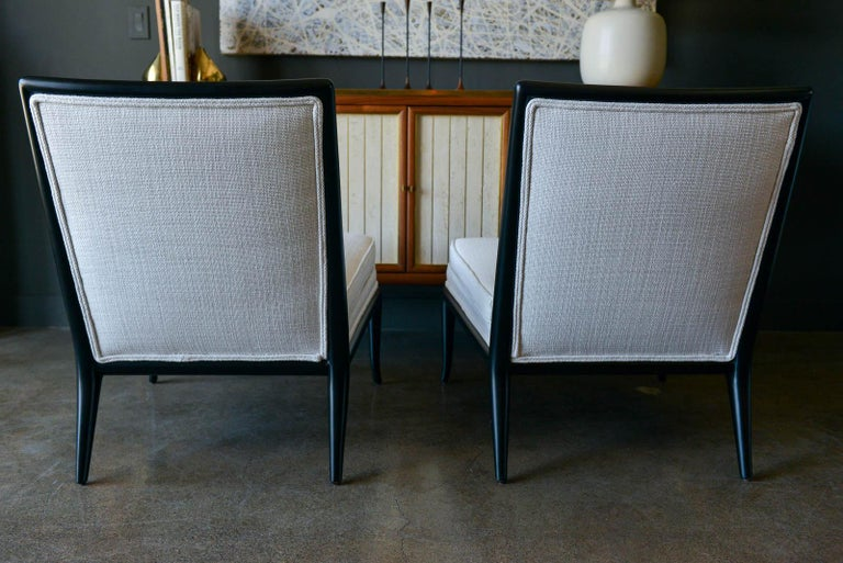 Fabric Pair of T.H. Robsjohn-Gibbings Slipper Chairs, Model WMB, 1955 For Sale