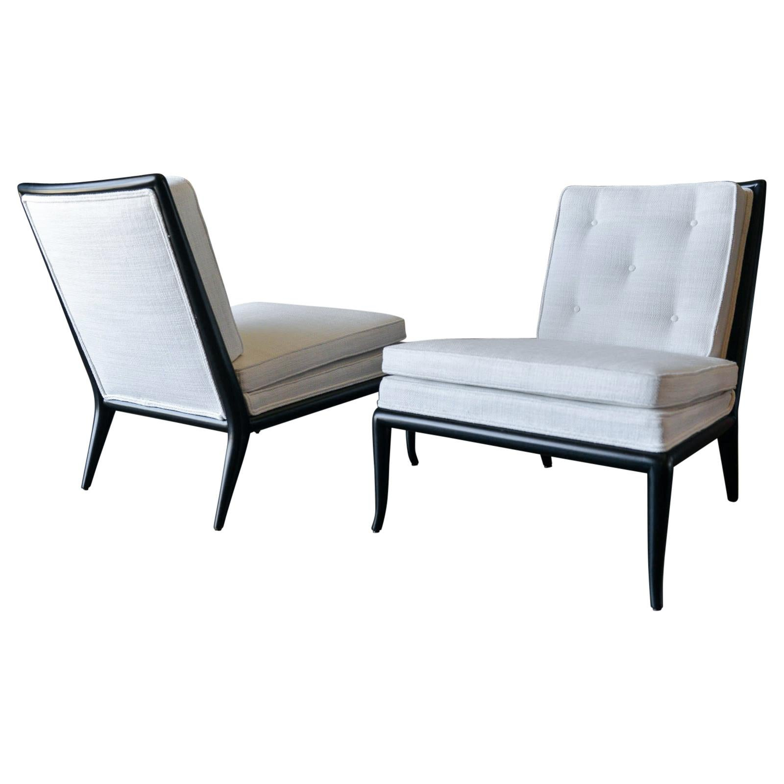 Pair of T.H. Robsjohn-Gibbings Slipper Chairs, Model WMB, 1955