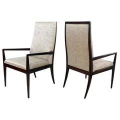 Pair of T.H. Robsjohn-Gibbings Style High Back Armchairs