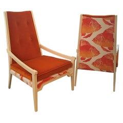 Pair of T.H. Robsjohn-Gibbings Style Mid-Century Modern Velvet Arm Lounge Chairs