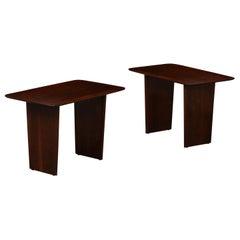 Pair of T.H. Robsjohn-Gibbings Walnut Side Tables