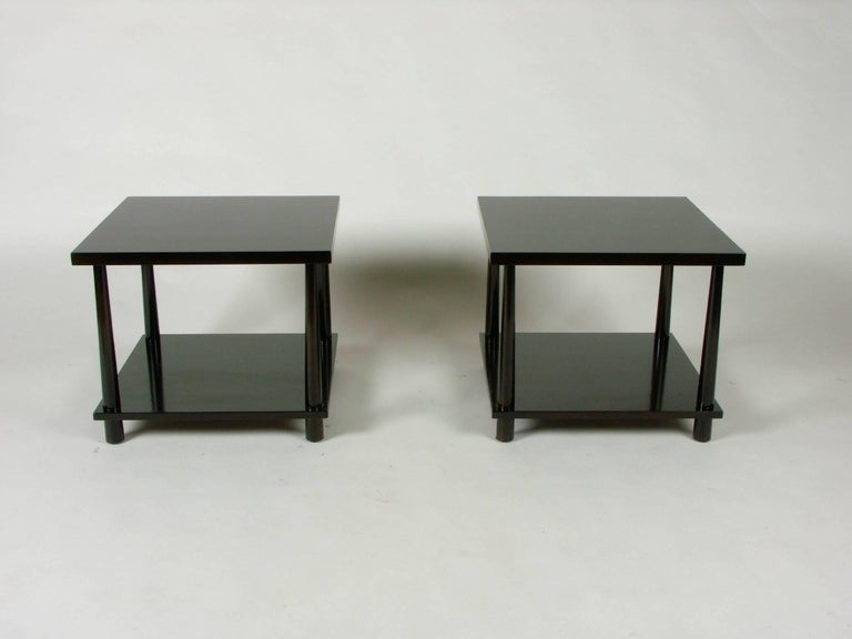 Pair of T.H. Robsjohns-Gibbings for Widdicomb reverse taper end tables, side or lamp tables, circa 1952. To be refinished in a dark brown espresso finish or custom color options available. Darker set shown already sold.