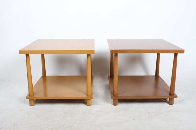 Mid-Century Modern Pair of T.H. Robsjohns-Gibbings for Widdicomb Reverse Taper End Tables For Sale