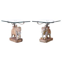Pair of Thai Carved Wood Elephant Side Tables