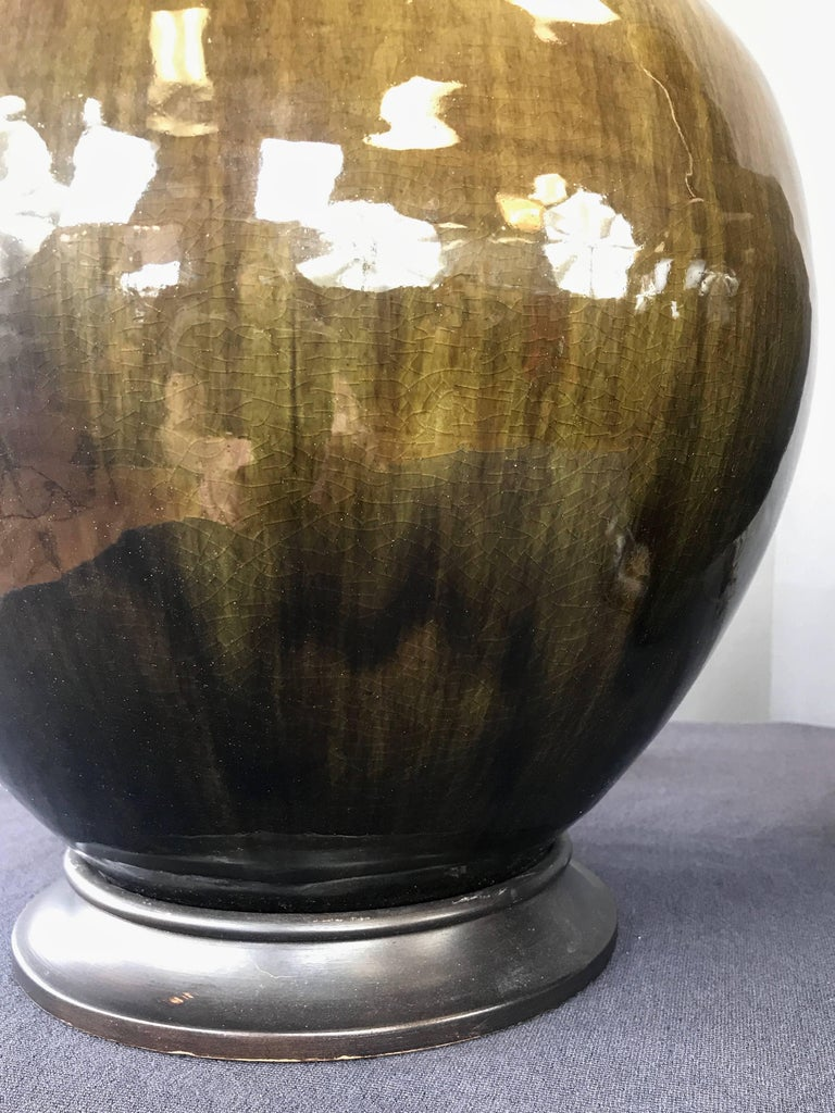 Pair Of Thai Celadon Monumental Glazed Ceramic Table Lamps