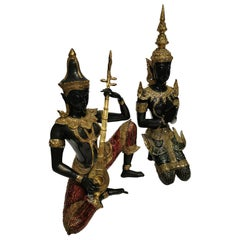 Pair of Thai Enameled Brass Figures