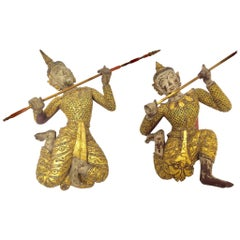 Pair of Thai Figures of Siamese Dancers Sculpture Wood with Gold