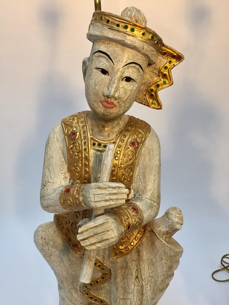 Pair of Thai Figures of Siamese Musicians Turned into Table Lamps For Sale 4
