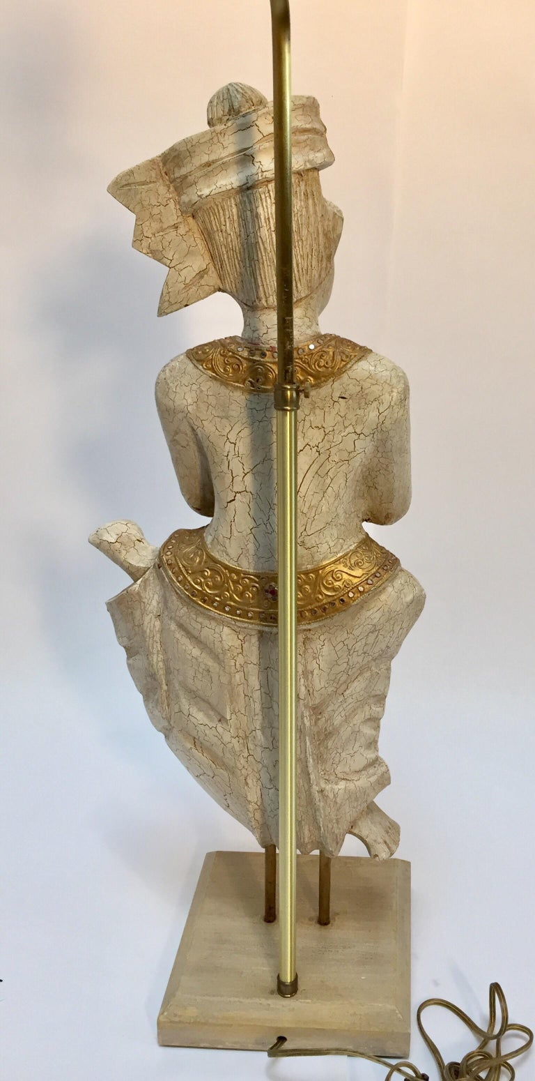 Pair of Thai Figures of Siamese Musicians Turned into Table Lamps For Sale 5