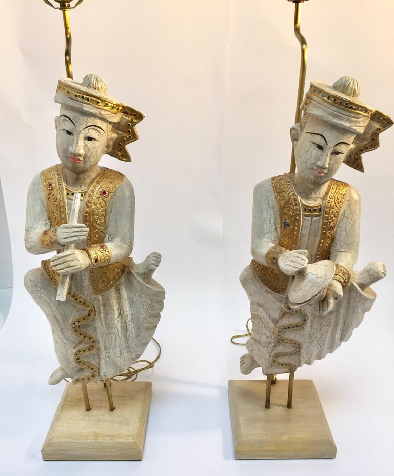 Arts and Crafts Pair of Thai Figures of Siamese Musicians Turned into Table Lamps For Sale