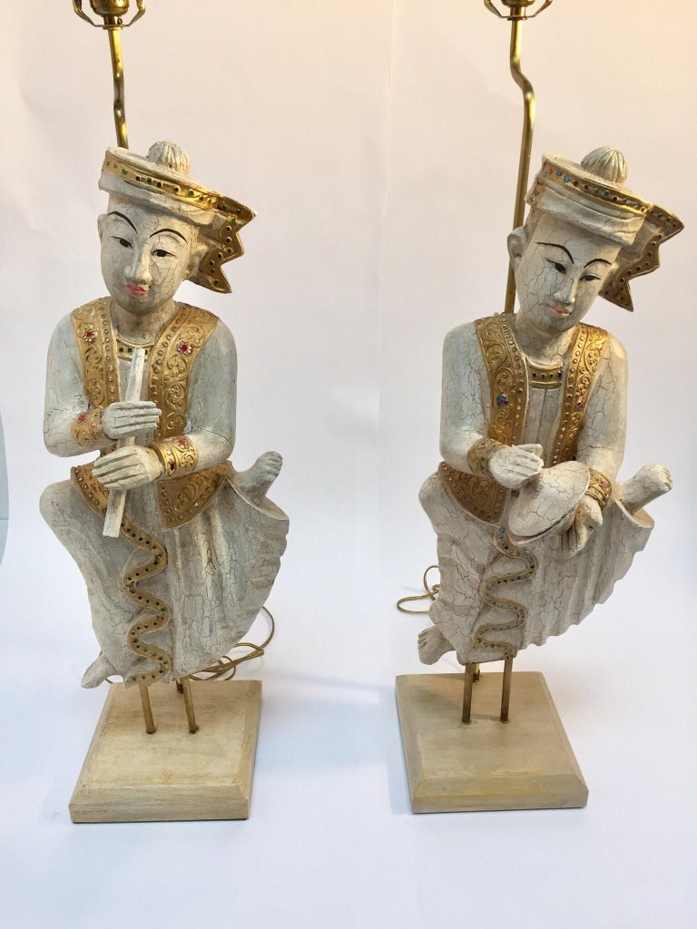 Hand-Carved Pair of Thai Figures of Siamese Musicians Turned into Table Lamps For Sale