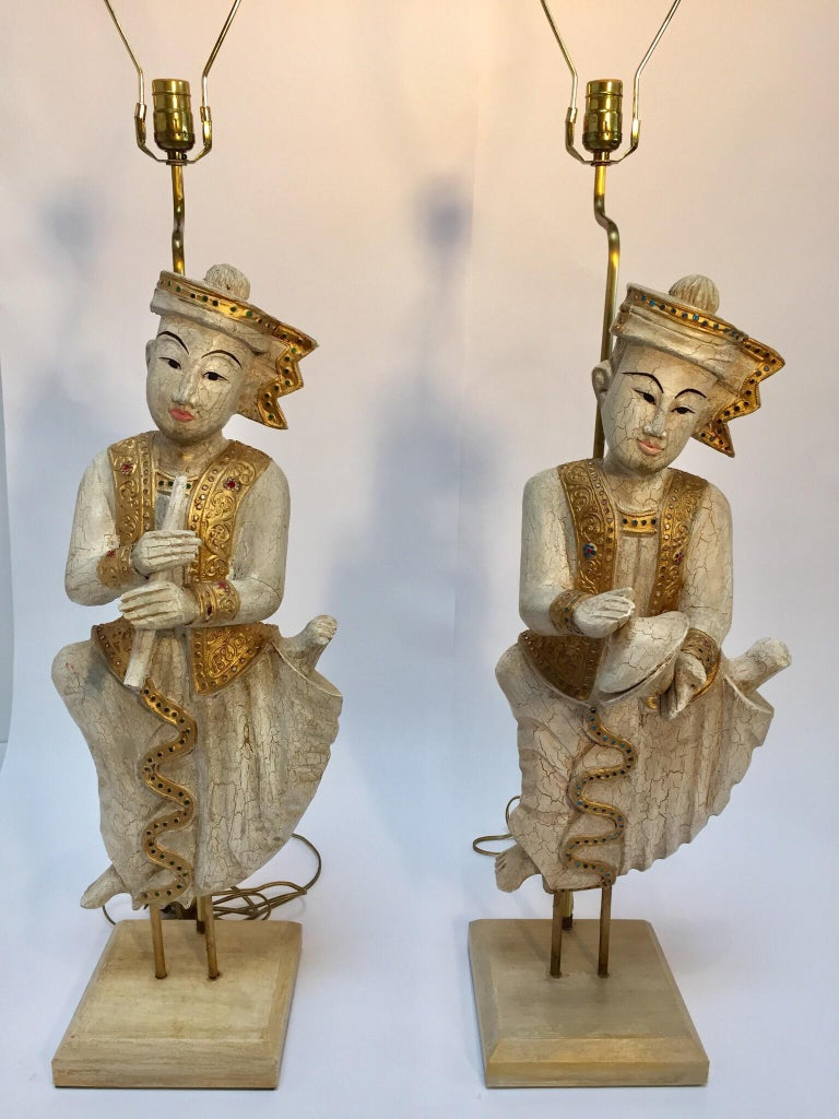20th Century Pair of Thai Figures of Siamese Musicians Turned into Table Lamps For Sale