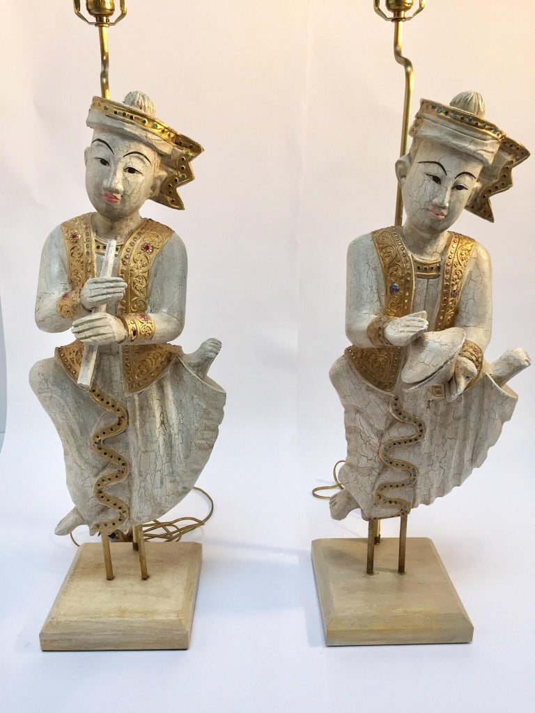 Wood Pair of Thai Figures of Siamese Musicians Turned into Table Lamps For Sale