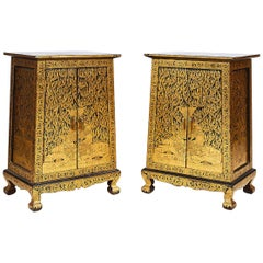 Pair of Thai Manuscript Cabinets of Lacquer and Gold Leaf, 20th Century