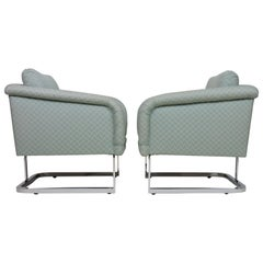 Pair of Thayer Coggin Chrome 1980s Lounge Chairs Milo Baughman Style