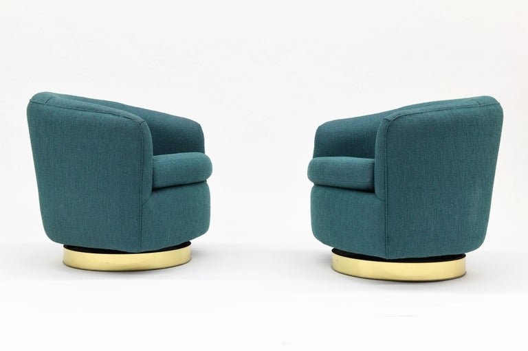 Pair Of Thayer Coggin Swivel Tilt Barrel Lounge Chairs By