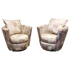 Pair of Thayer Coggin Swivel Tub Chairs